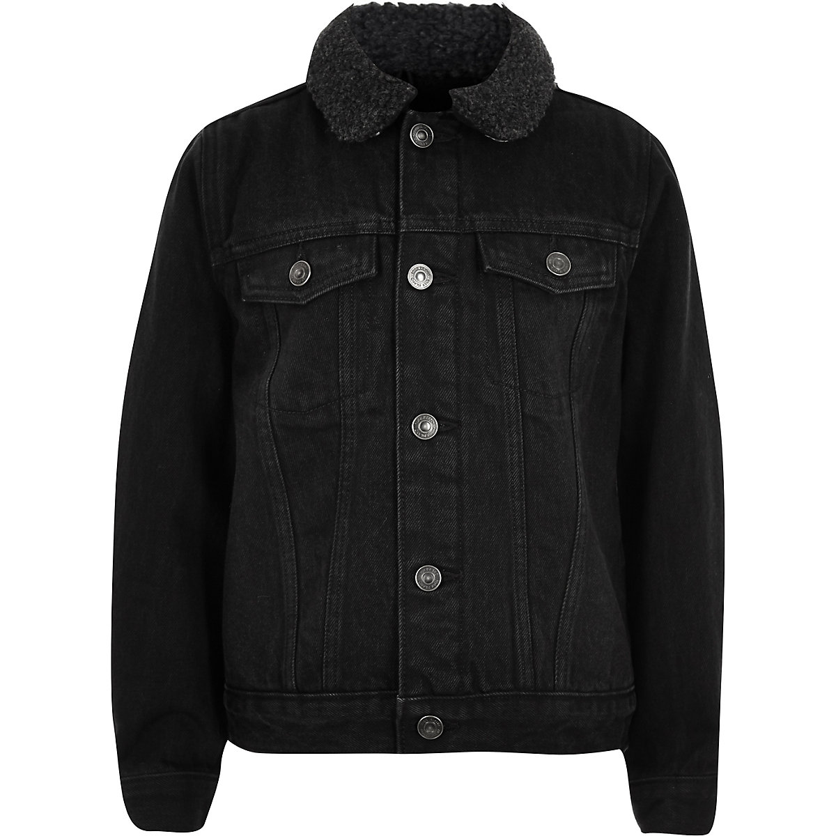 Boys black wash fleece lined denim jacket