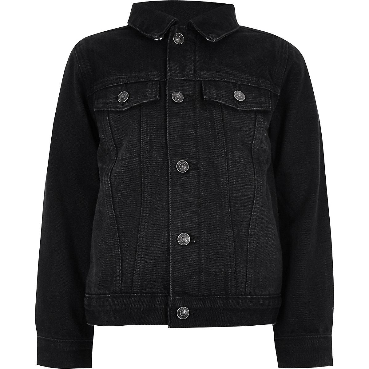 Boys Black Wash Borg Lined Denim Jacket Jackets Coats Jackets