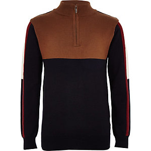 Boys brown funnel neck sweatshirt