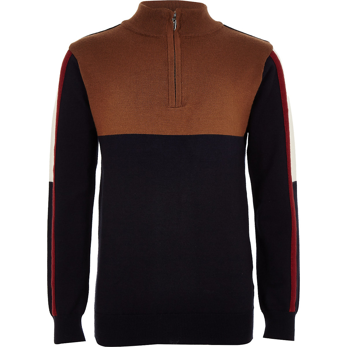 Boys brown funnel neck sweater