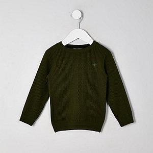 Mini boys khaki textured jumper