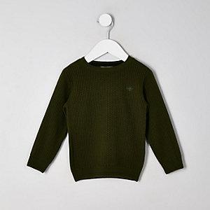 Mini - Kaki pullover met textuur voor jongens