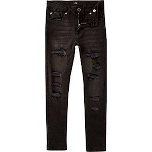 Danny - Zwarte wash skinny ripped jeans voor jongens