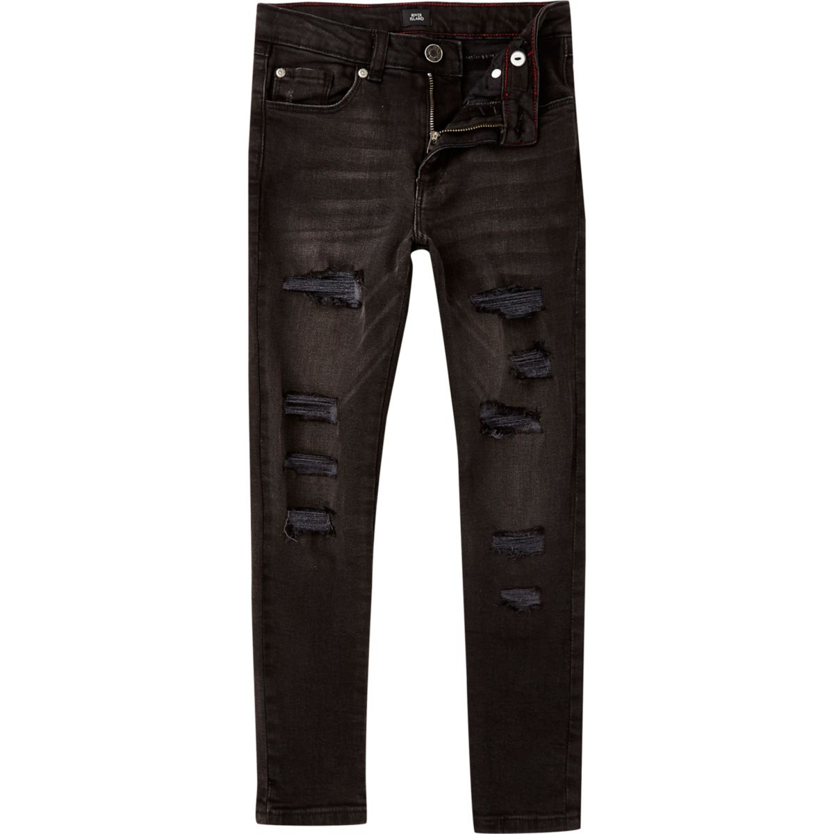 Boys black wash Danny skinny ripped jeans