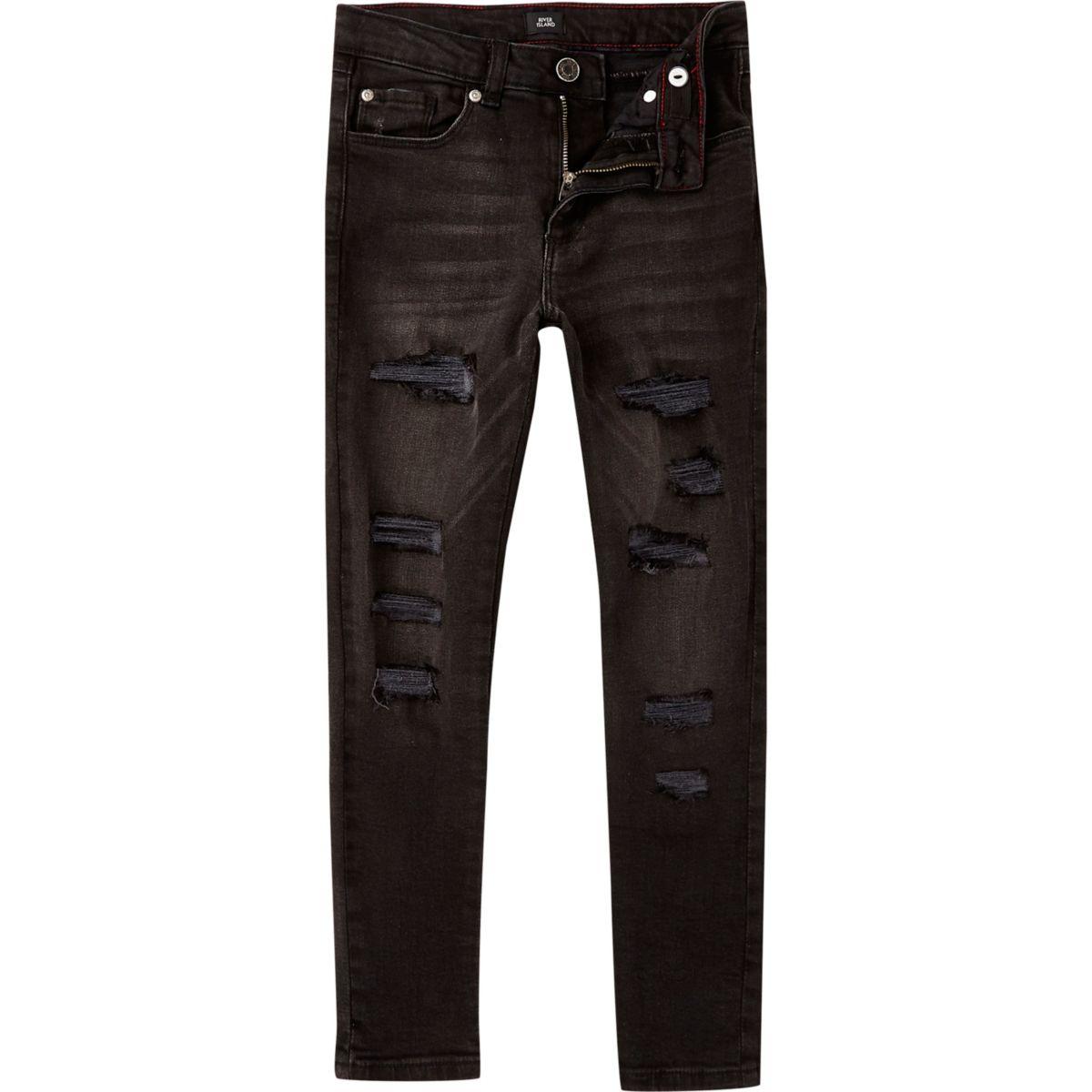 Boys black wash Danny skinny ripped jeans