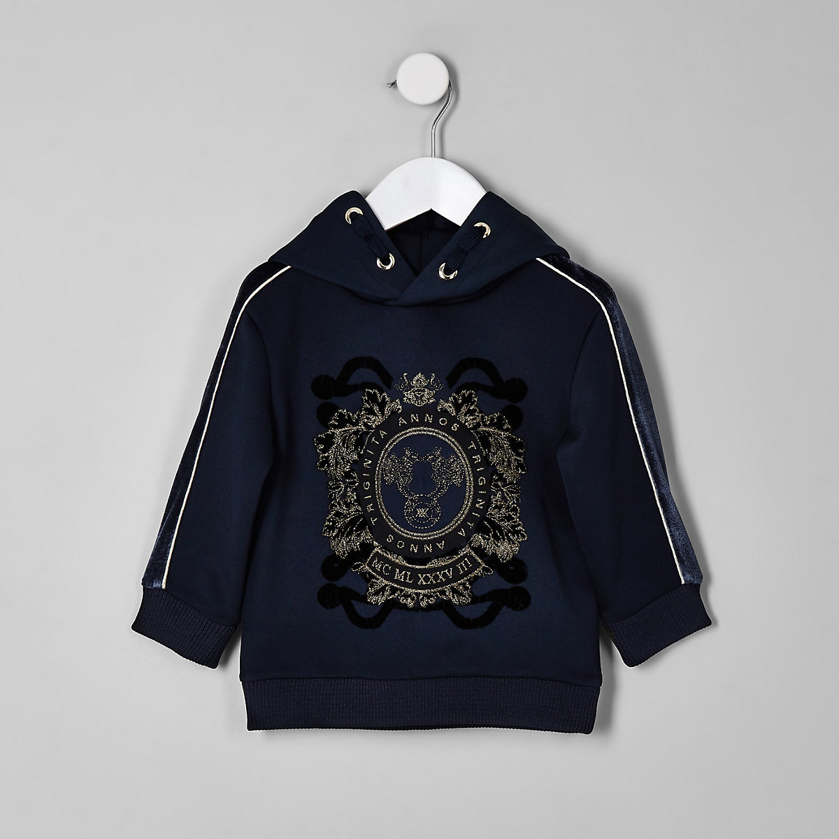 RI 30 mini boys navy flocked tape hoodie