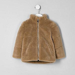 Mini boys brown borg puffer jacket