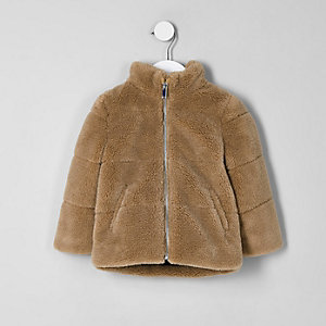 Mini boys brown fleece puffer jacket
