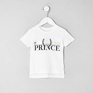 Mini boys 'prince' foil print T-shirt