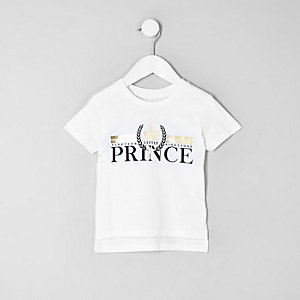 Mini boys 'prince' foil print T-shirt