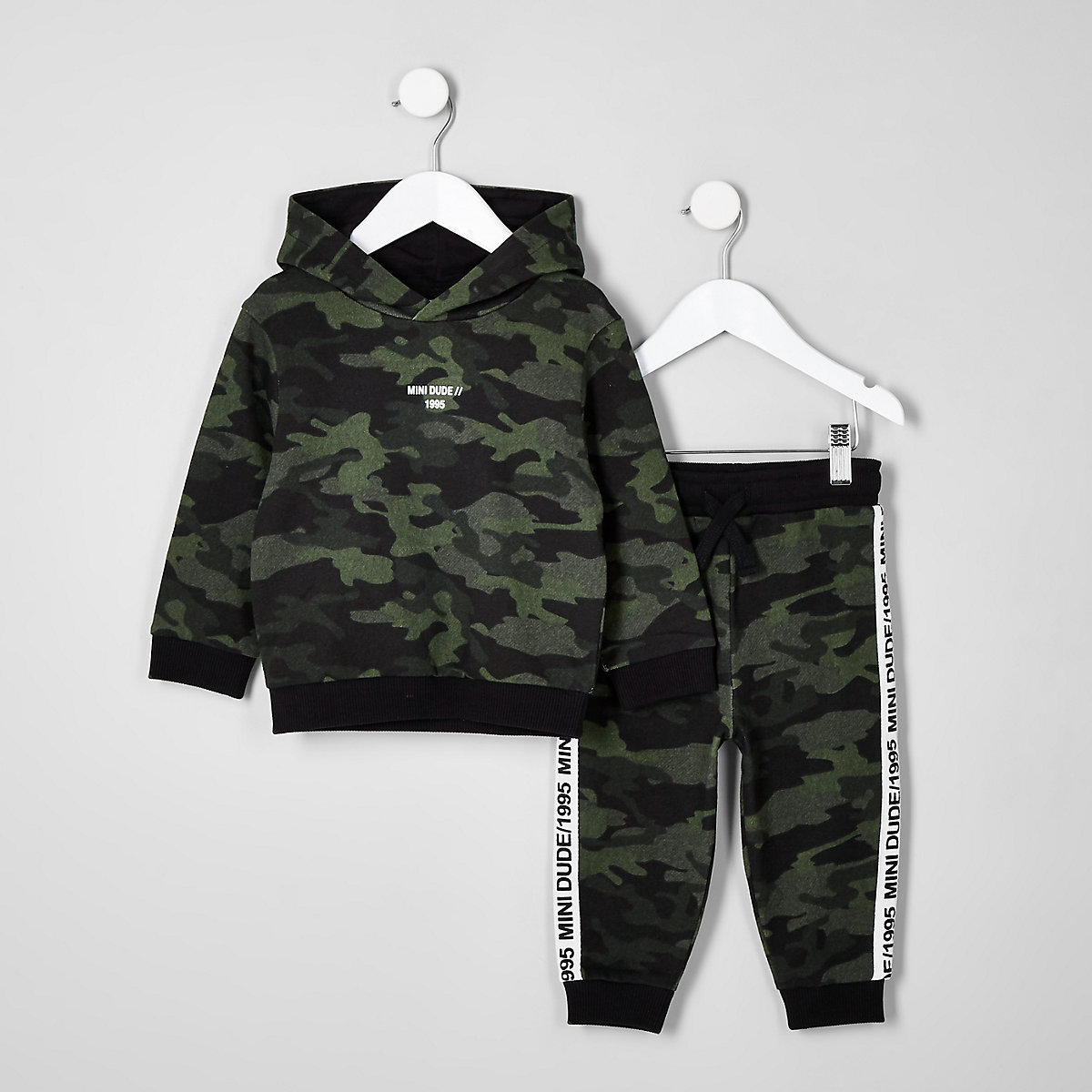 Mini boys khaki camo taped hoodie outfit
