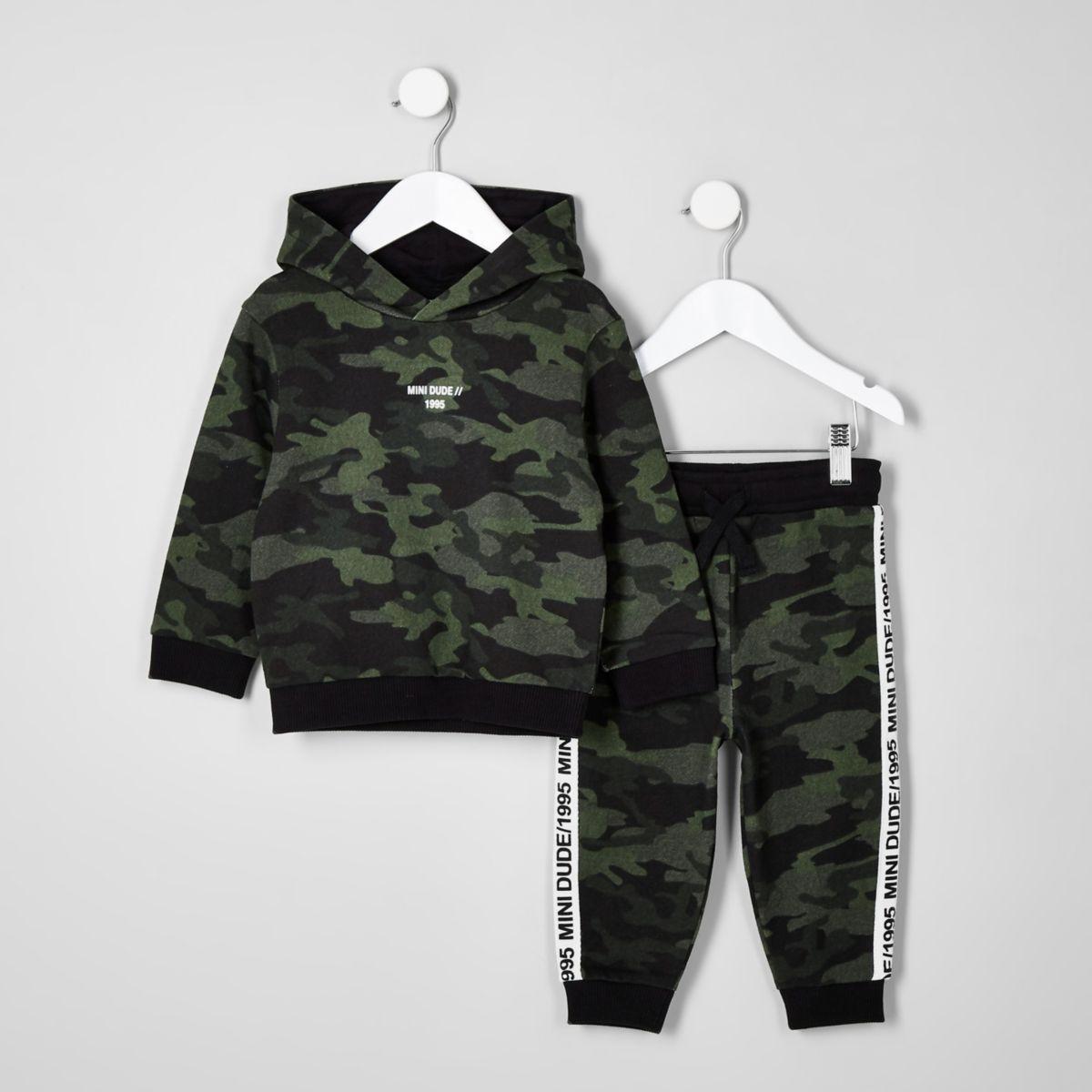 Mini boys khaki camo taped hoodie outfit