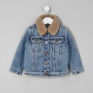 Mini boys blue borg collar denim jacket