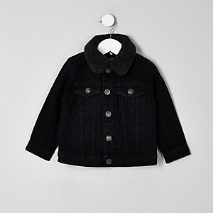 Mini boys black wash fleece lined denim jacket