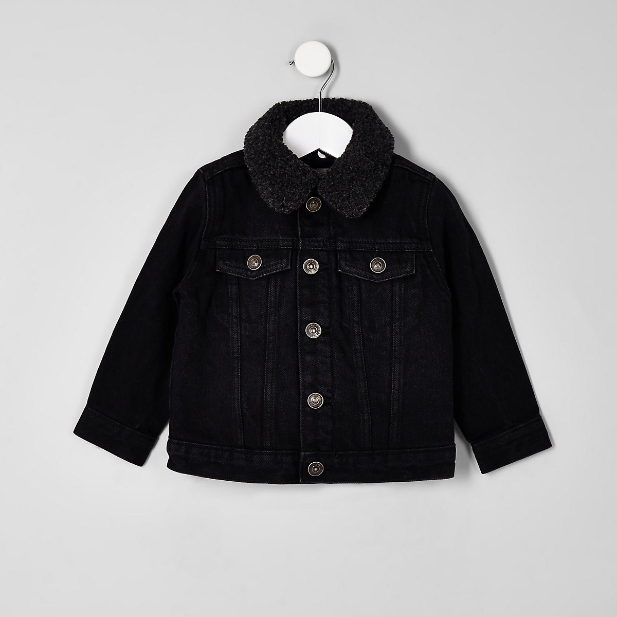 Mini boys black wash fleece lined denim jacket