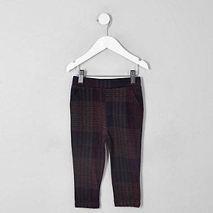 Pantalon à carreaux violet pour mini garçon