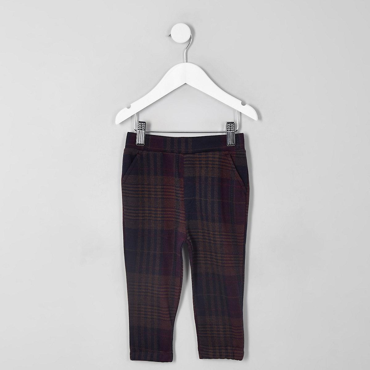 Mini boys purple check trousers