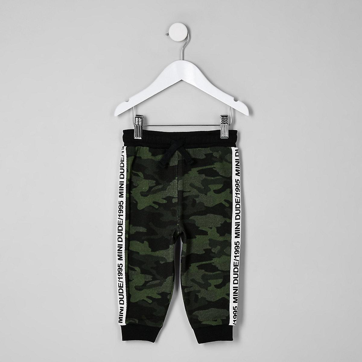 Mini boys khaki green camo side tape joggers