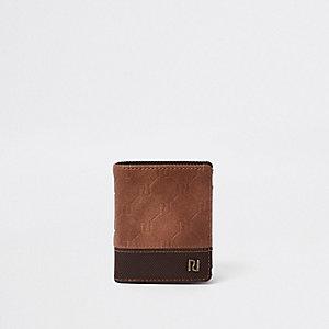 Portefeuille marron clair à monogramme RI pour garçon