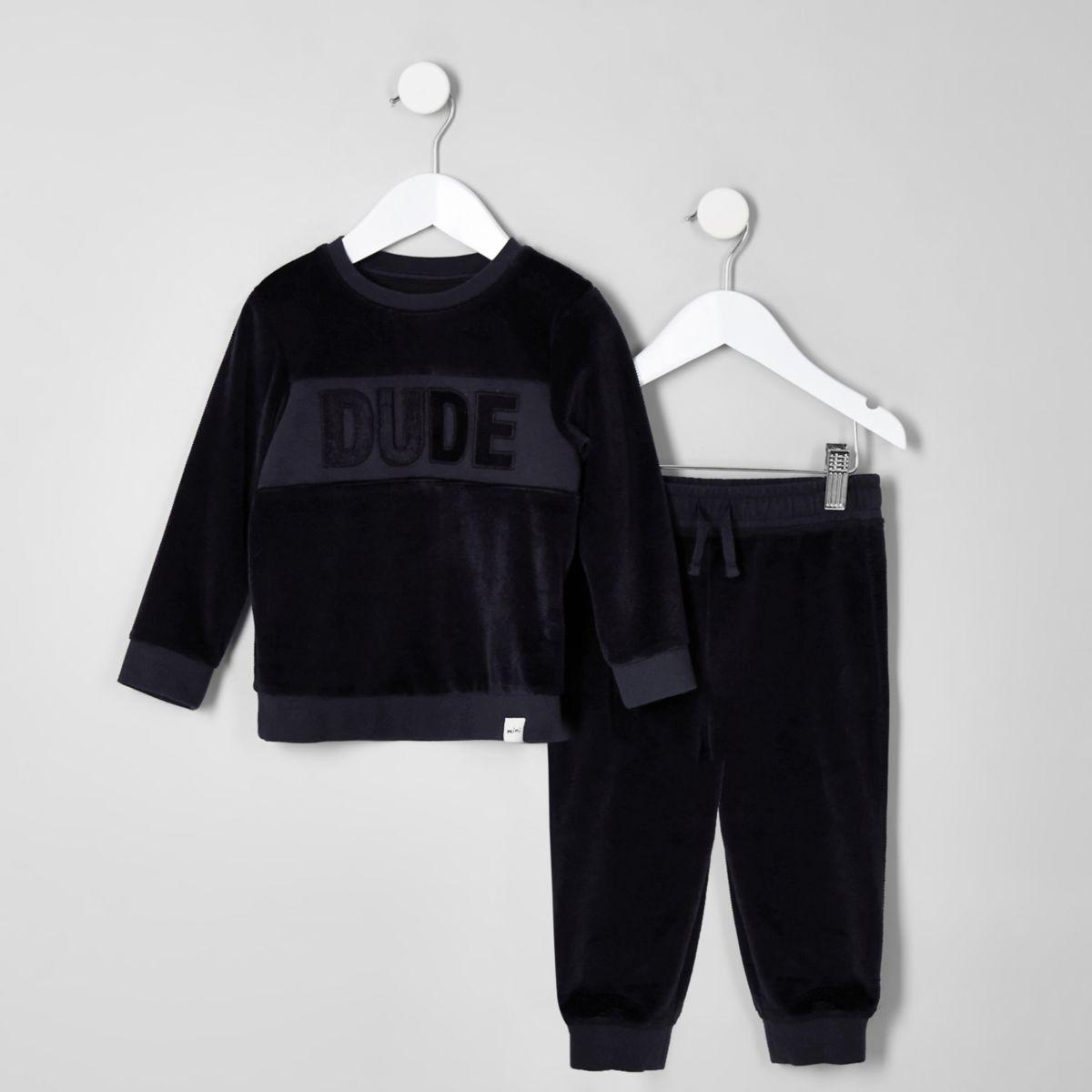 Mini boys navy velour sweatshirt outfit