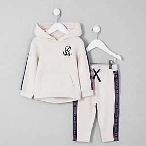 Mini boys ecru 'R96' tape hoodie outfit