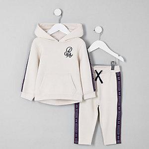 Mini - Outfit met ecru hoodie met band en 'R96'-print voor jongens