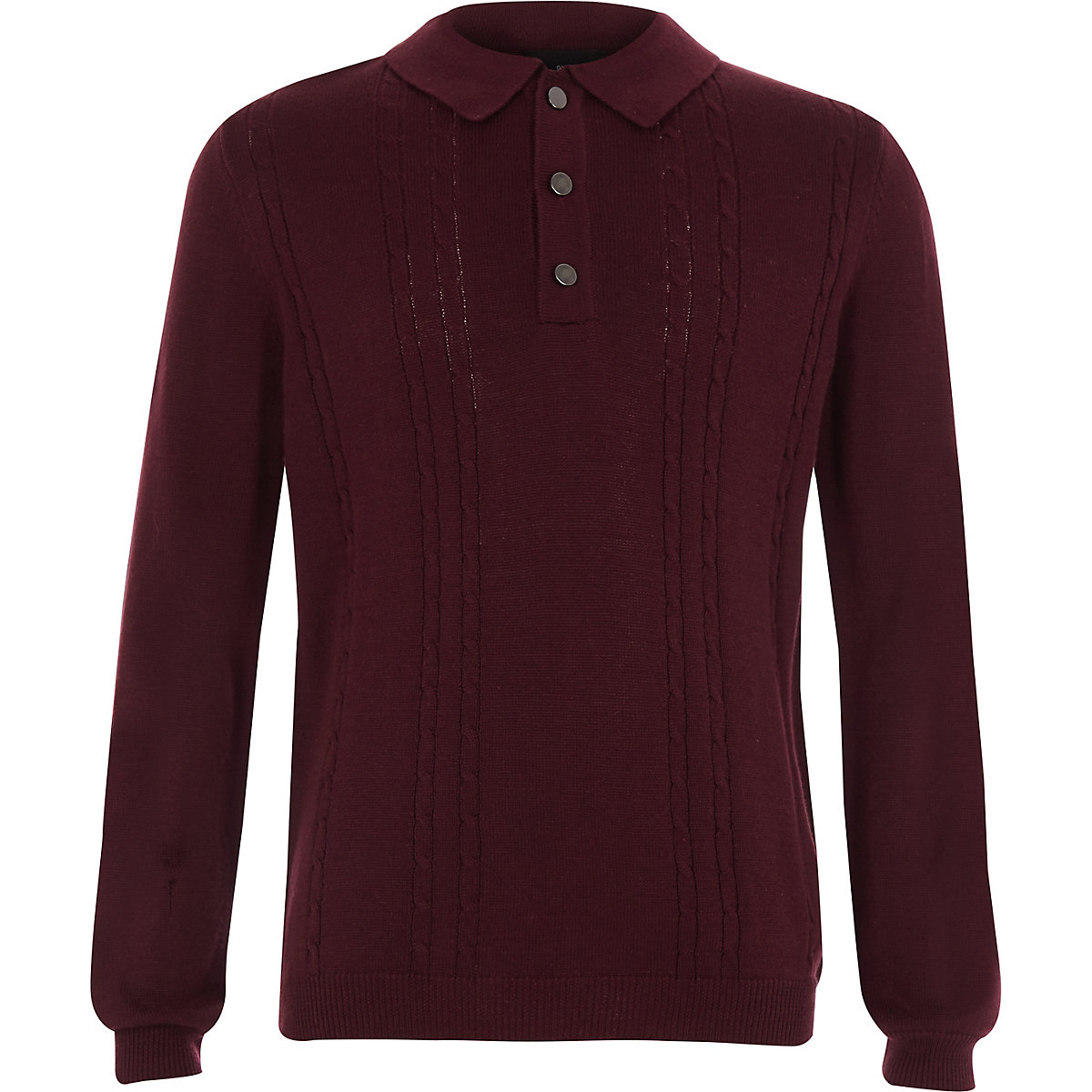 Boys dark red knitted long sleeve polo shirt