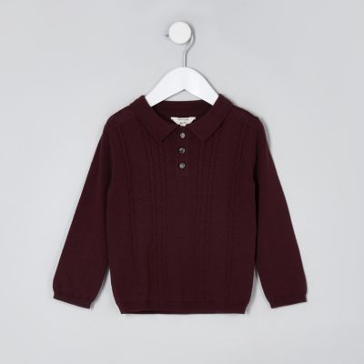Mini Boys Dark Red Cable Knit Polo Shirt by River Island