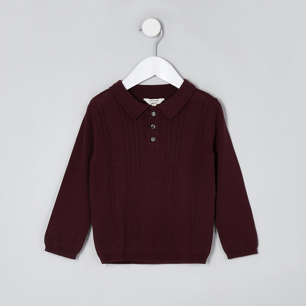 Mini boys dark red cable knit polo shirt