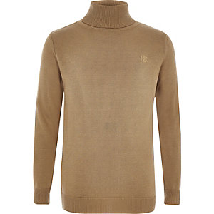 Boys camel RI roll neck jumper