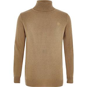 Boys camel RI roll neck sweater