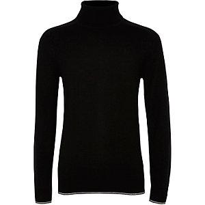 Zwarte pullover met RI-logo, col en contrasterend randje voor jongens