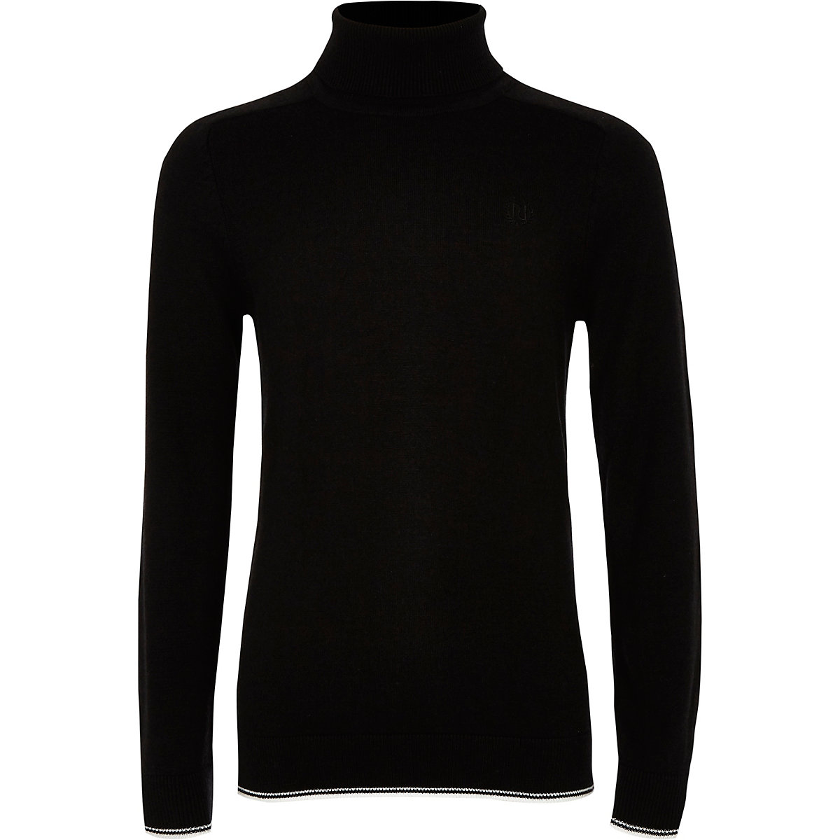 Boys black RI roll neck tipped sweater