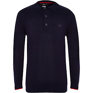 Boys navy cable long sleeve polo shirt