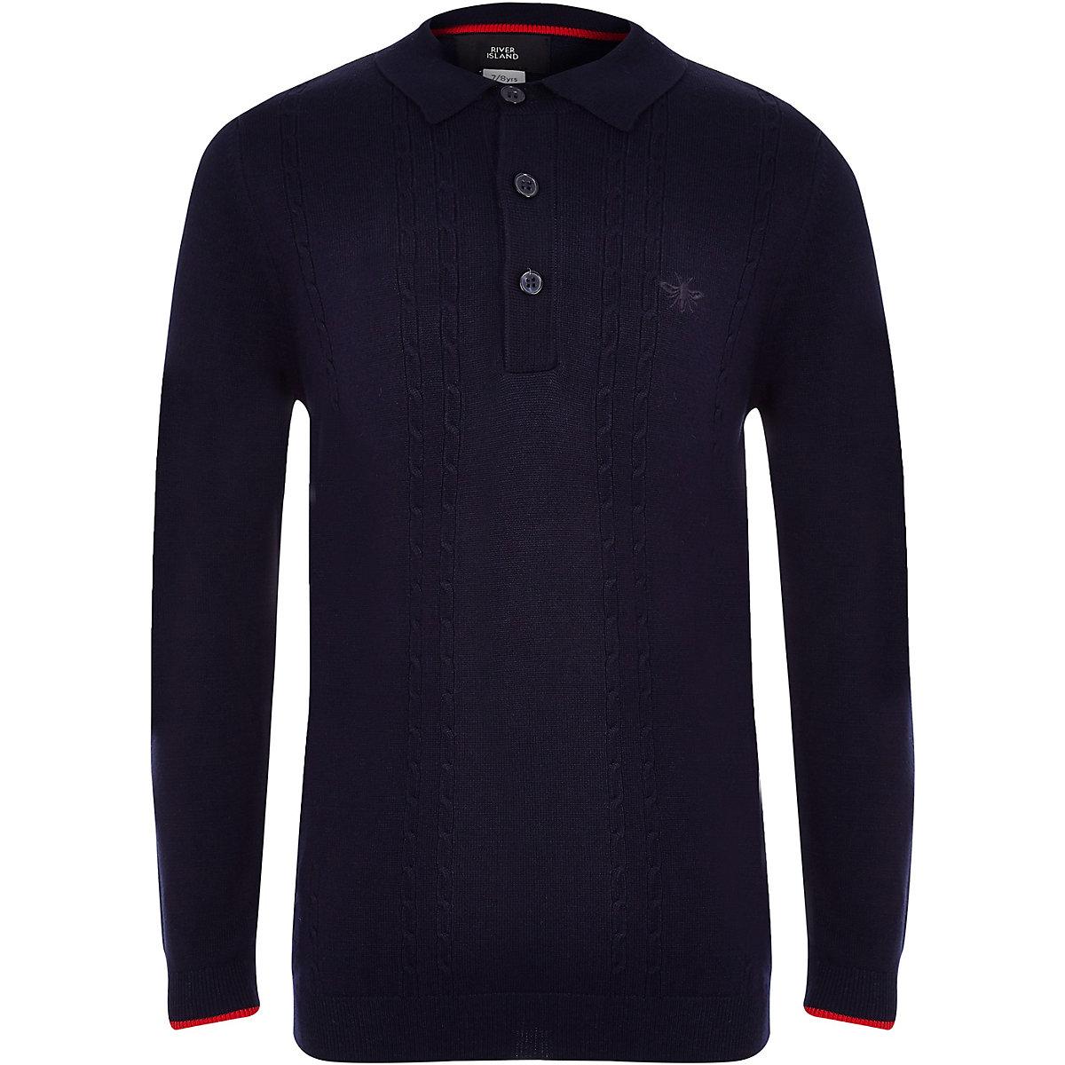 Boys navy cable long sleeve polo shirt