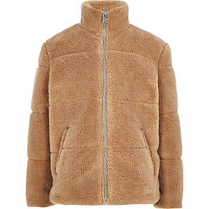 Boys light brown fleece puffer jacket