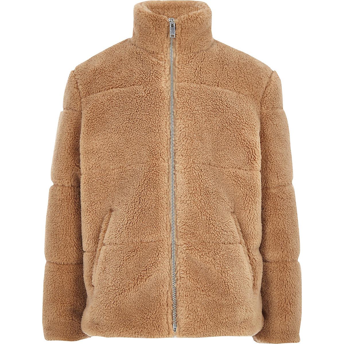 Boys light brown fleece puffer jacket