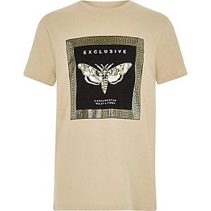 Kiezelkleurig T-shirt met folieprint voor jongens