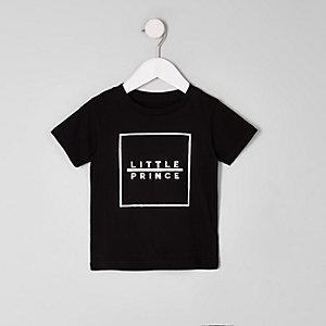Mini boys black 'little prince' print T-shirt