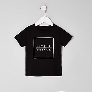 Mini boys black 'little prince' print T-shirt