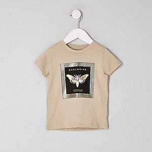 Mini - Kiezelkleurig T-shirt met folieprint voor jongens
