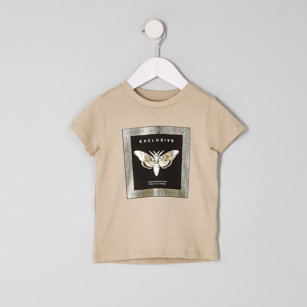 T-shirt imprimé métallisé grège mini garçon