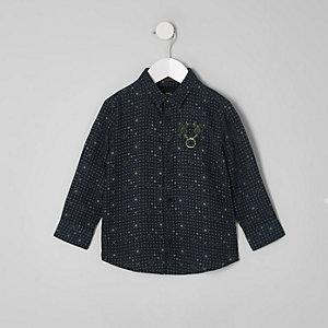 Mini - RI 30 - Marineblauw overhemd met tegelprint voor jongens