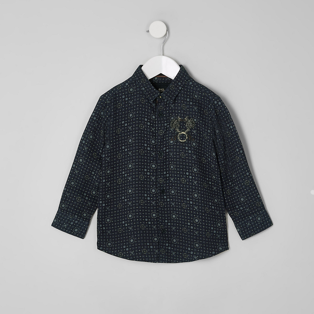 RI 30 mini boys navy tile print shirt