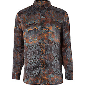 RI 30 boys orange printed shirt