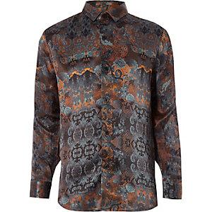 RI 30 - Oranje overhemd met print voor jongens