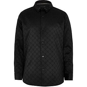 RI 30 - Zwart jacquard overhemd voor jongens