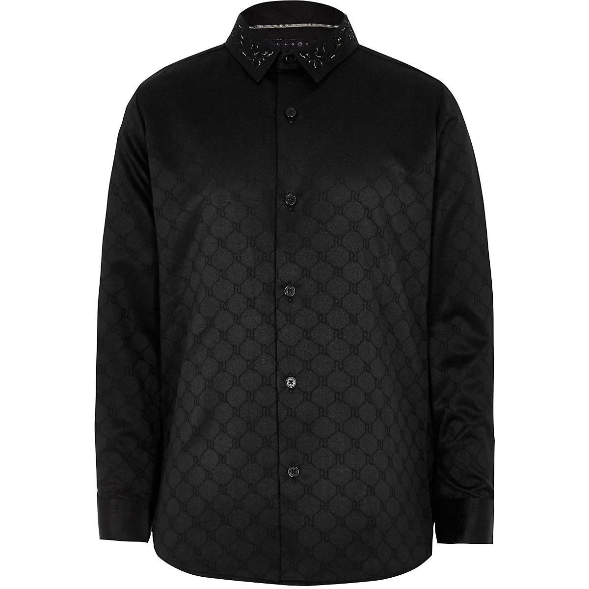 RI 30 boys black jacquard RI shirt