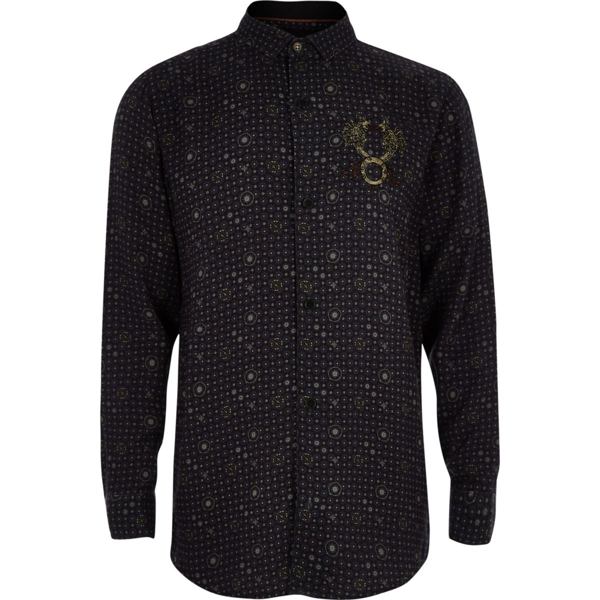 RI 30 boys navy tile print shirt