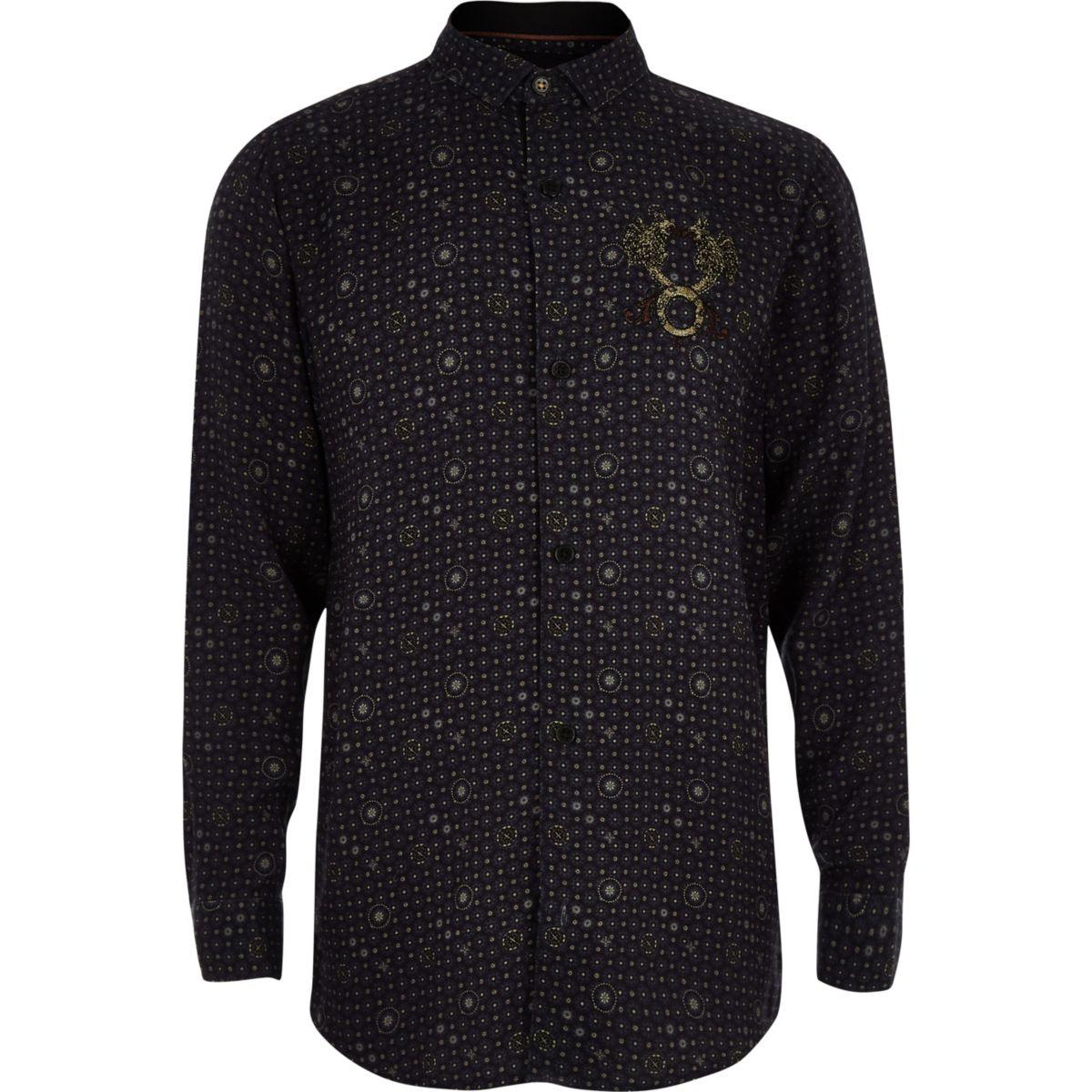 RI 30 boys navy tile print shirt